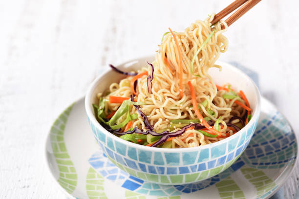 Noodle Salad with Mixed Veggies stock photo