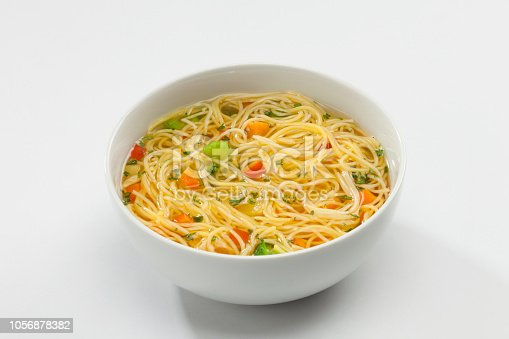 Noodles soup. Homemade style. Studio photography. High angle view.