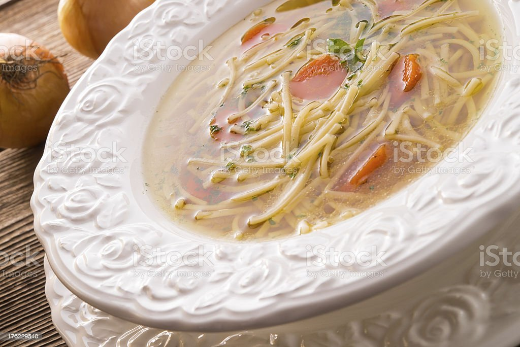 Noodle soup with beef broth royalty-free stock photo