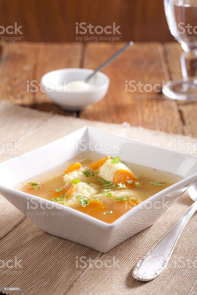 Noodle soup with dumplings royalty-free stock photo