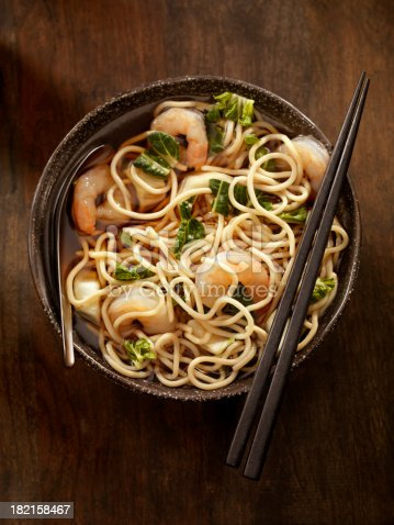 Asian Noodle Soup with Shrimp and Bok Choy -Photographed on Hasselblad H1-22mb Camera