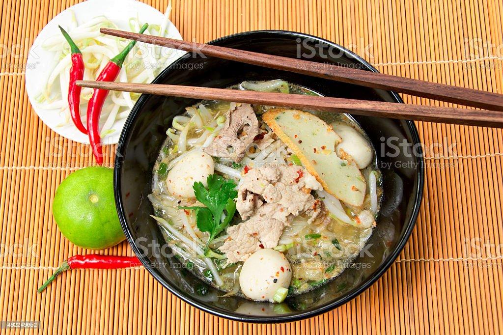 noodle tomyum soup stock photo