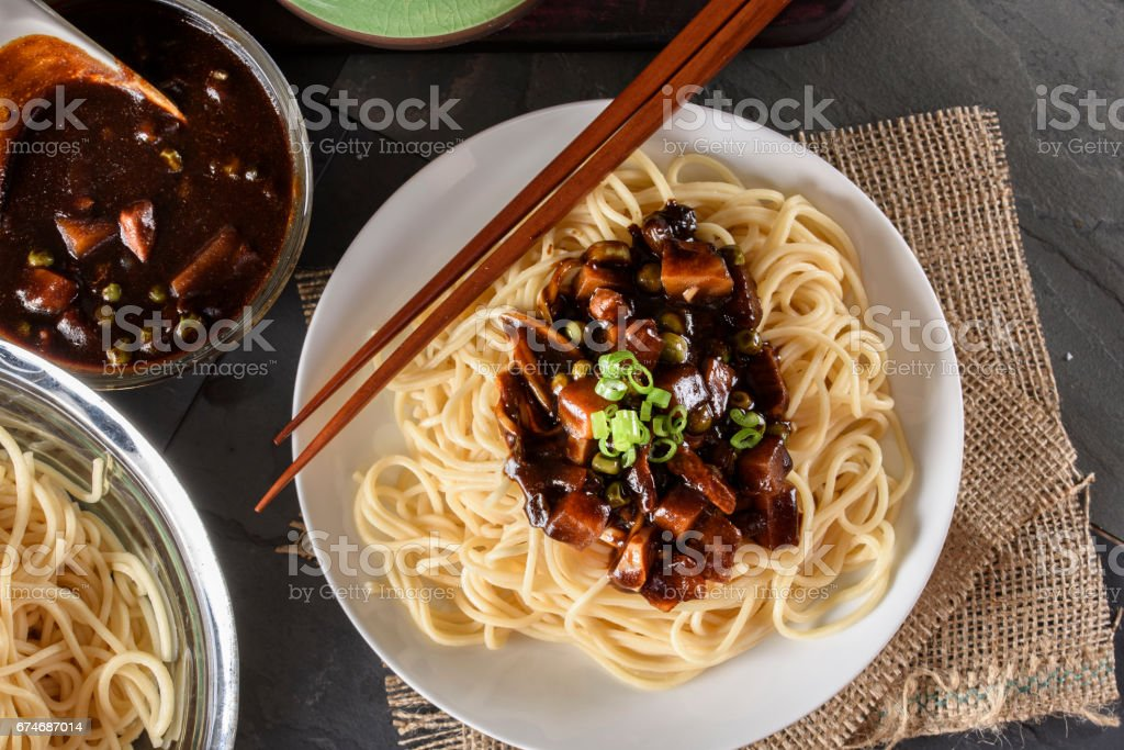 Noodle with Black bean Sauce stock photo