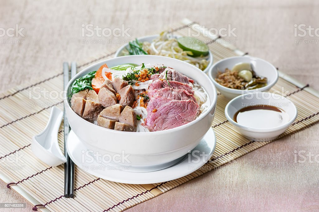 Noodle with meat ball and sauce stock photo