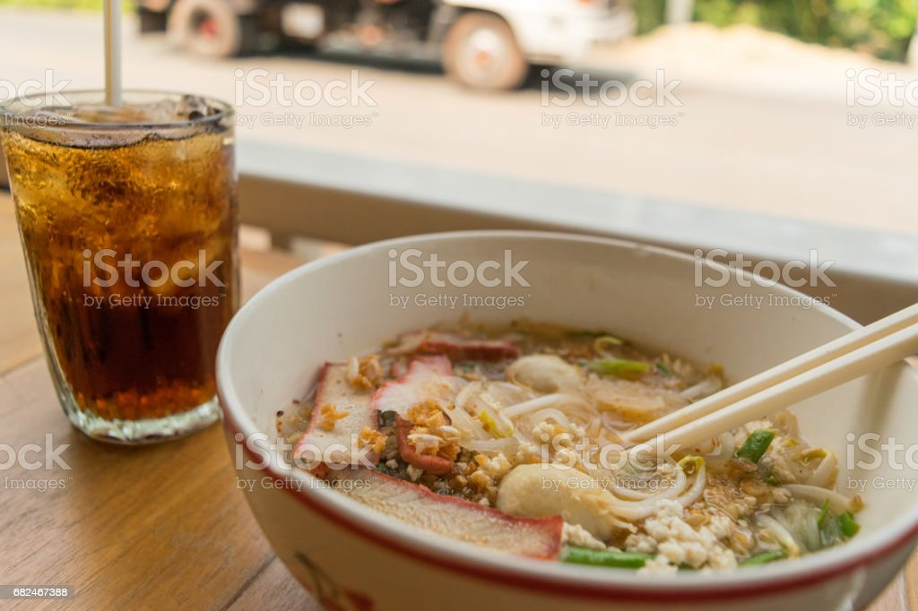 noodles and beverage on market street in my travel royalty-free stock photo