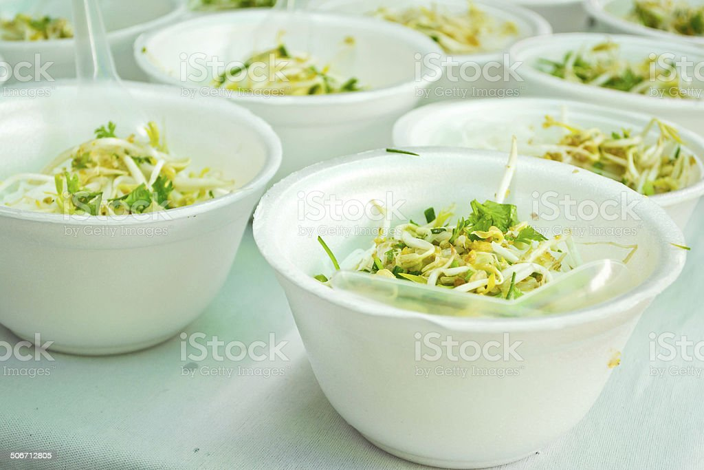 Noodles in a foam box royalty-free stock photo