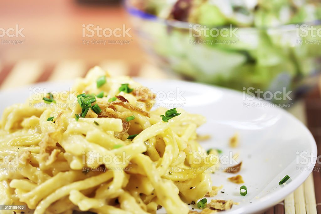 noodles with cheese stock photo