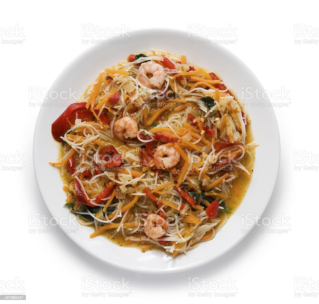 Noodles with prawns stock photo