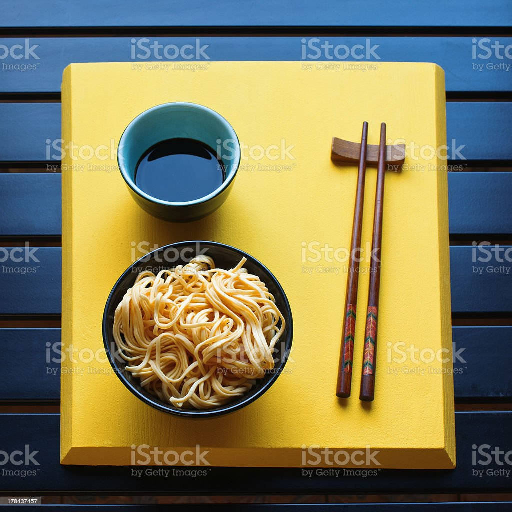 Noodles with soy sauce stock photo
