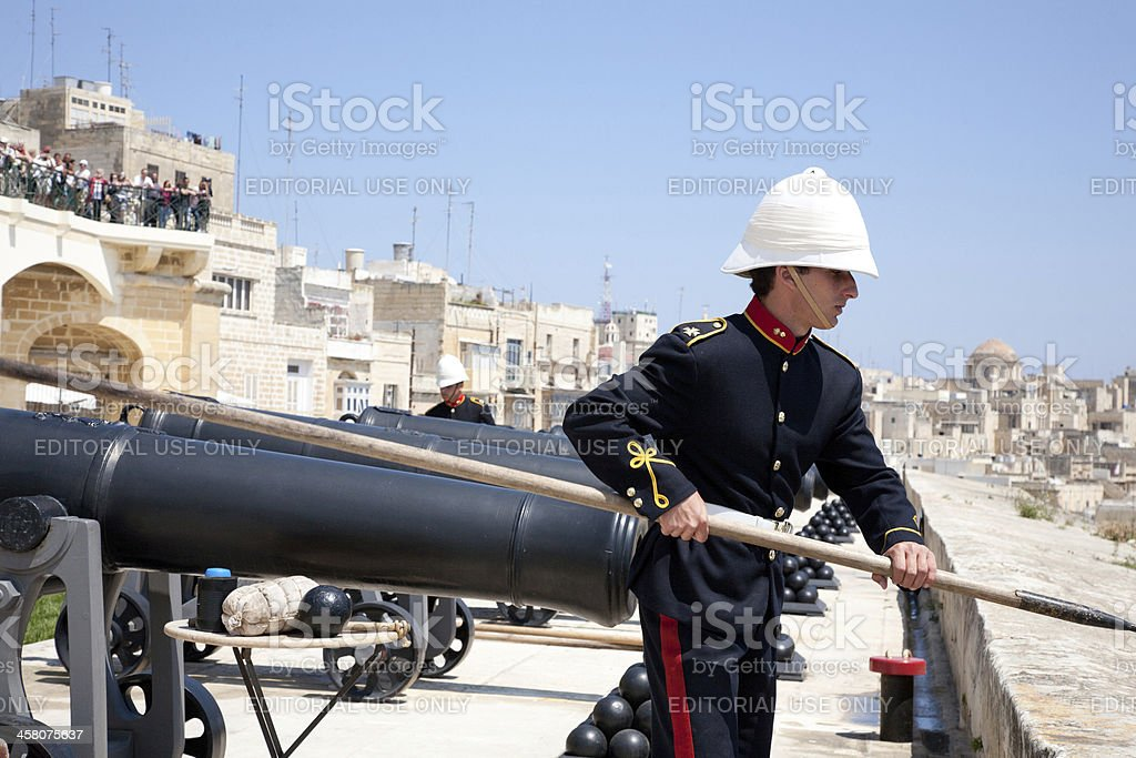 Noon cannon salute in Valletta - Malta royalty-free stock photo