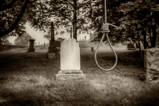 Noose In A Graveyard Stock Photo - Download Image Now