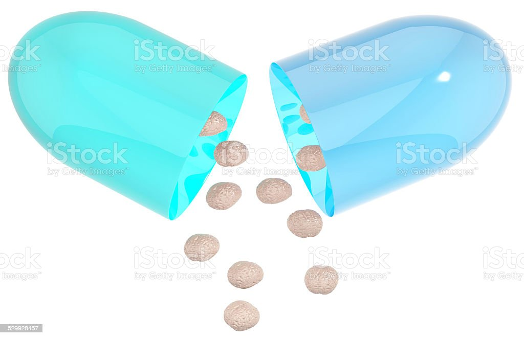 Nootropic pill isolated on white stock photo