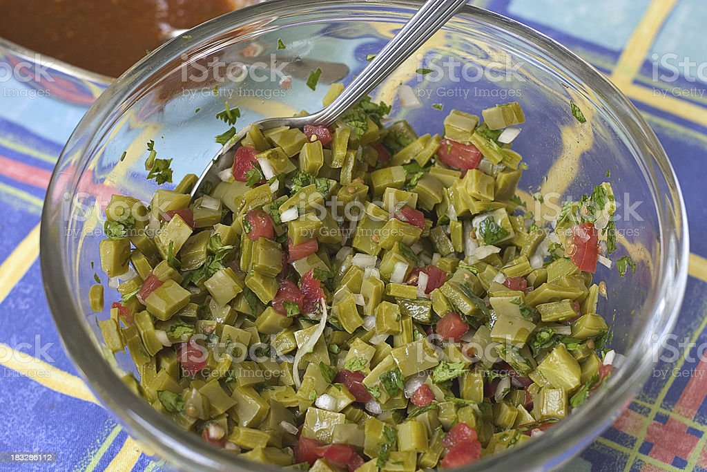 nopales, cactus salad stock photo