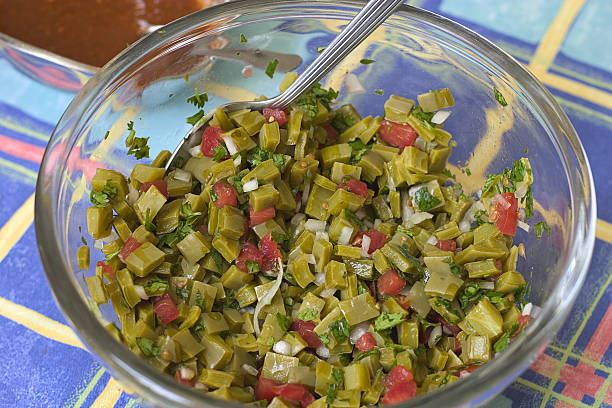 nopales, cactus salad stock photo