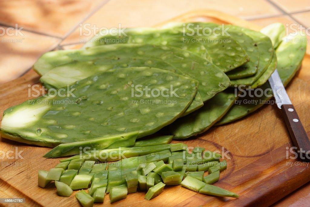 Nopales on a cutting board