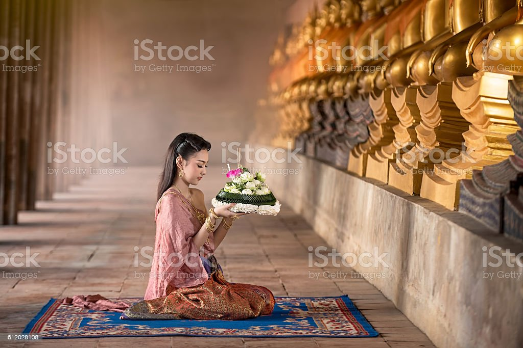 Noppamas Queen Contest in Loy kratong tradition stock photo