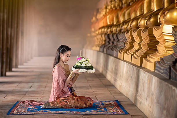 noppamas queen contest in loy kratong tradition - kratong stock photos and pictures