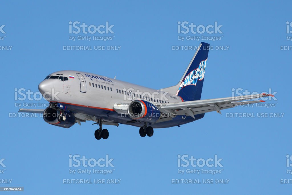 Noradvia Boeing 737-500 VP-BOI landing at Sheremetyevo international airport. stock photo