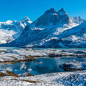 The magic Nordenskjold Lake with the Pehoe Lake in the background with the Cuernos del Paine and Torres del Paine snowcapped peaks in winter, Torres del Paine national park, Chile.