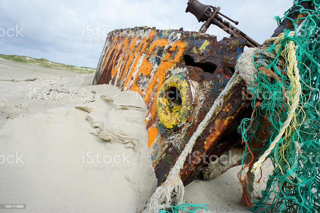 Norderney Shipwreck on the Beach royalty-free stock photo