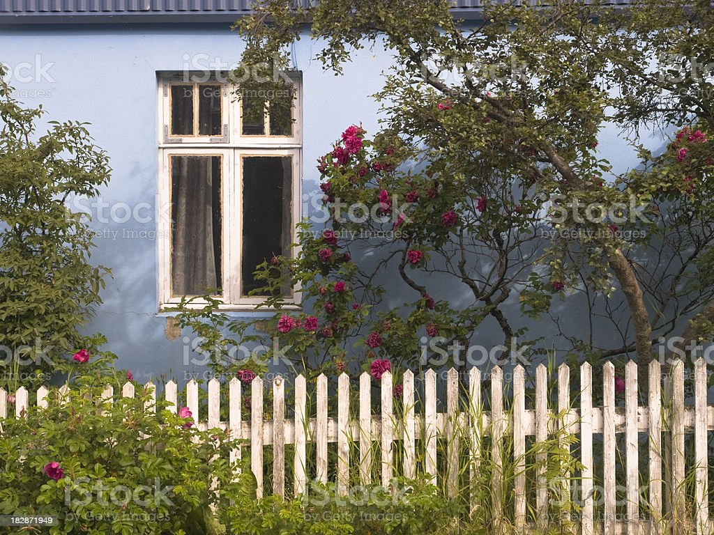 Nordic blue house white picket fence royalty-free stock photo