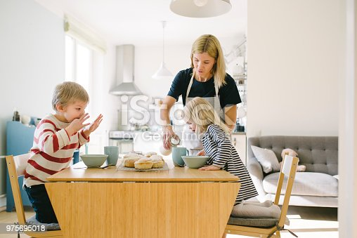 Photo series of Nordic family eating home made semla bun, traditional Scandinavian sweet pastry for celebrating Shrove Tuesday in various Scandinavian countries.