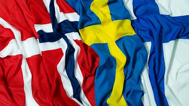 nordic flags - kuzey ülkeleri stok fotoğraflar ve resimler