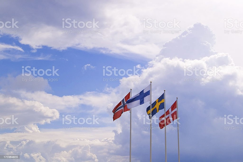 nordic flags stock photo