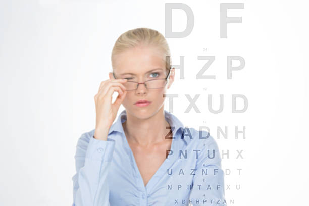 nordic girl to the optician stock photo