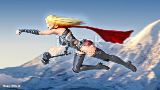 istock Nordic heroine woman with hammer, Norse mythology superhero girl flying, ancient warrior princess with medieval weapon, 3D render 1046019604