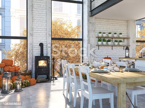 istock nordic kitchen in an apartment. 3D rendering. thanksgiving concept. 1083658632