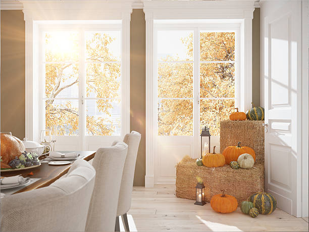nordic kitchen in an apartment. 3d rendering. thanksgiving concept. - decor stock photos and pictures