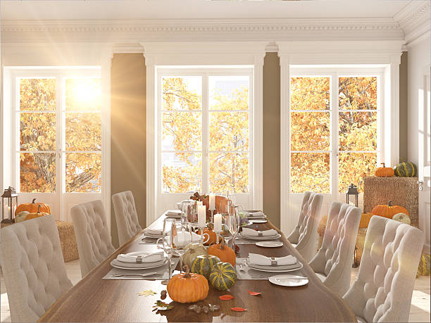 nordic kitchen in an apartment. 3D rendering. thanksgiving concept. – Foto