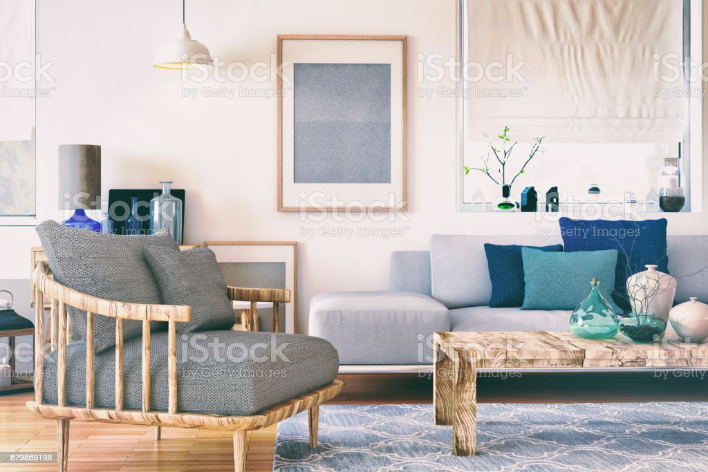 Nordic living room stock photo