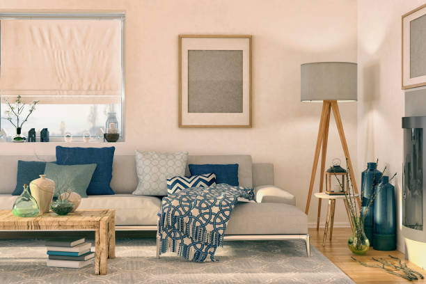 nordic living room - scandinavia stock pictures, royalty-free photos & images