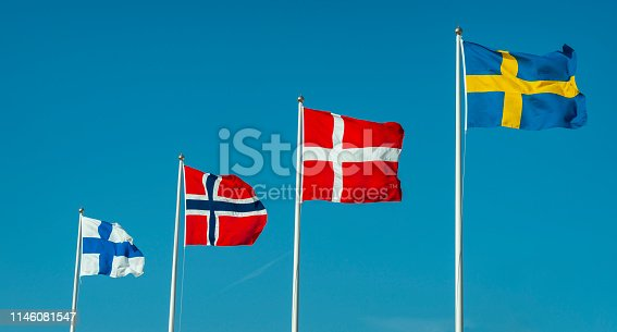 Nordic flags. Finland, Norway, Denmark and Sweden