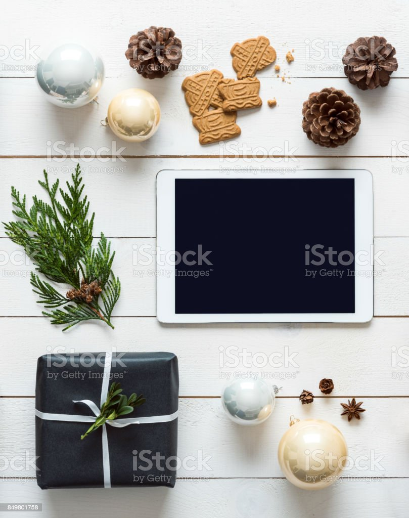Nordic retro christmas background, desk top view, online shopping concept stock photo