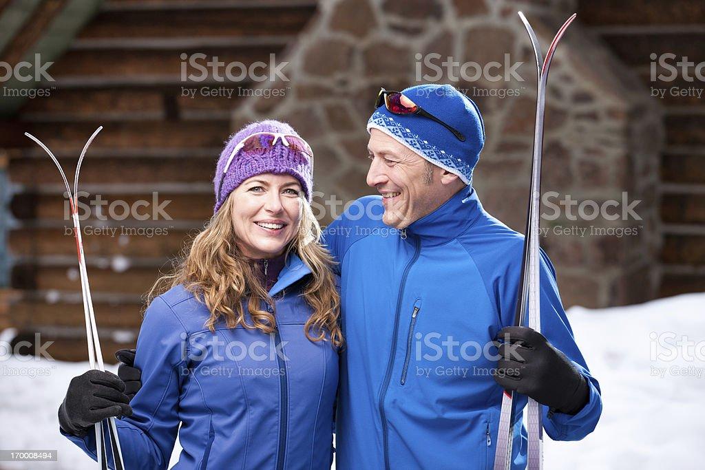 Nordic Skiing Vacation Couple royalty-free stock photo