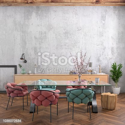 Nordic style apartment dining room interior with large table and chairs, also used as at home office. freelance designer background template. Blank wall in the background. daylight scene, lot of details and decoration. Vibrant neon and pastel colored chairs. render