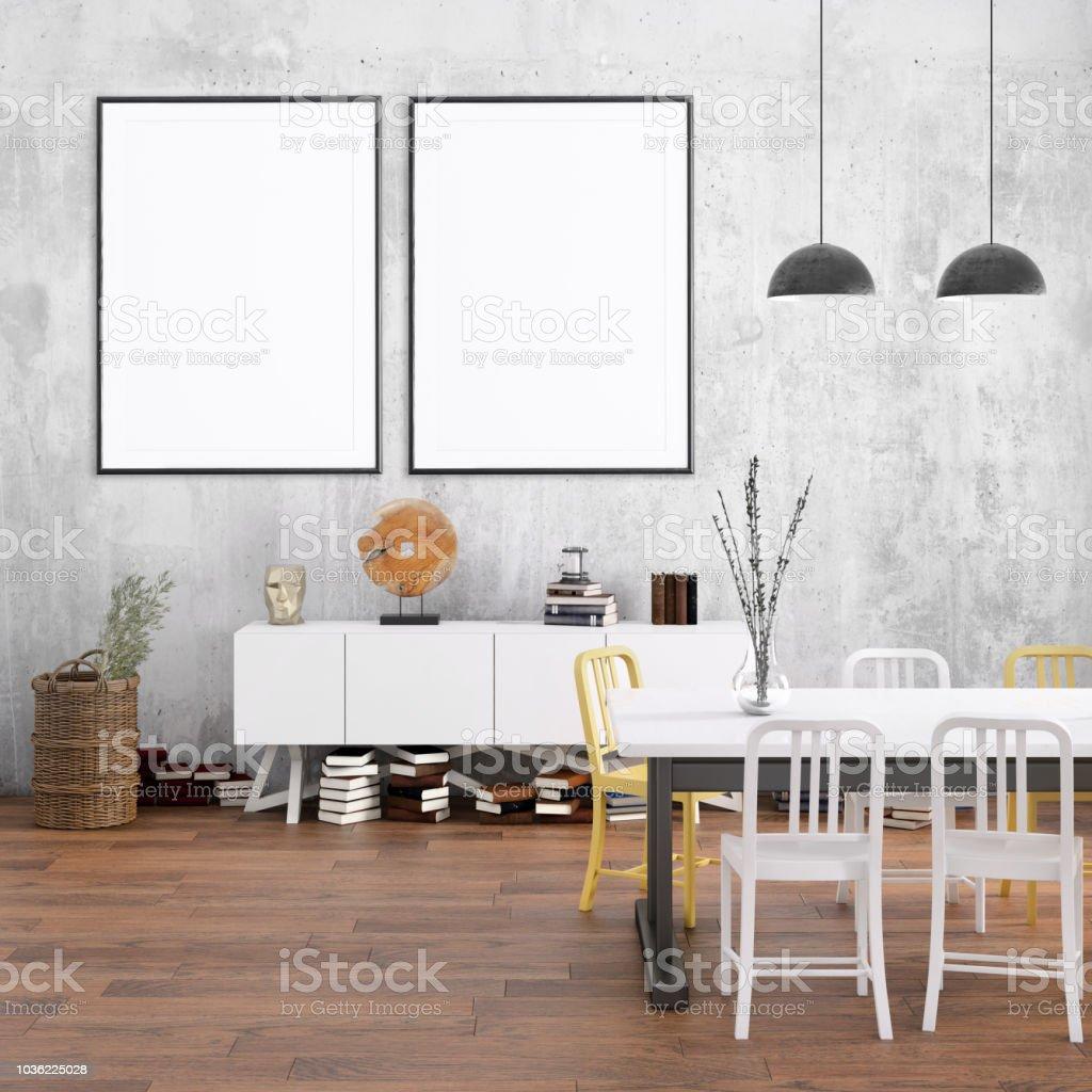 Nordischen Stil Wohnung Esszimmer Mit Bildframevorlage Stockfoto Und Mehr Bilder Von Architektur Istock