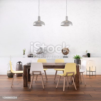 Nordic style office studio dining room interior with large table and chairs. freelance designer background template. Blank wall in the background. daylight scene, lot of details and decoration. Vibrant neon and pastel colored chairs. render