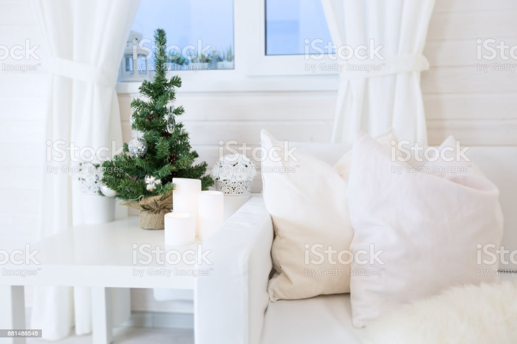 Nordic styled room with xmas decoration stock photo