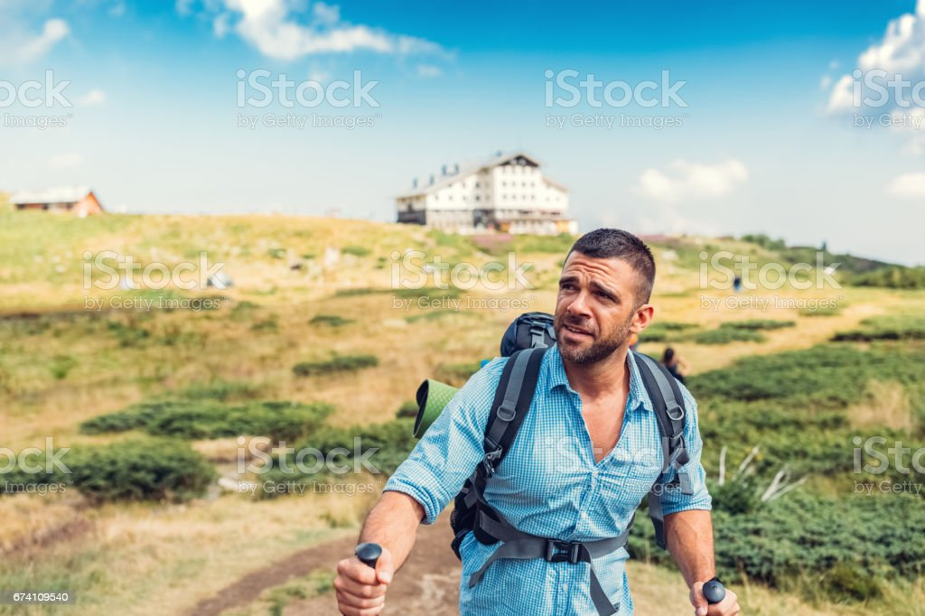 Nordic walking among nature royalty-free stock photo
