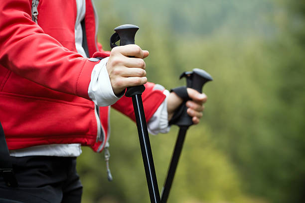 Nordic Walking and hiking woman Nordic Walking in Autumn mountains, hiking concept nordic walking stock pictures, royalty-free photos & images