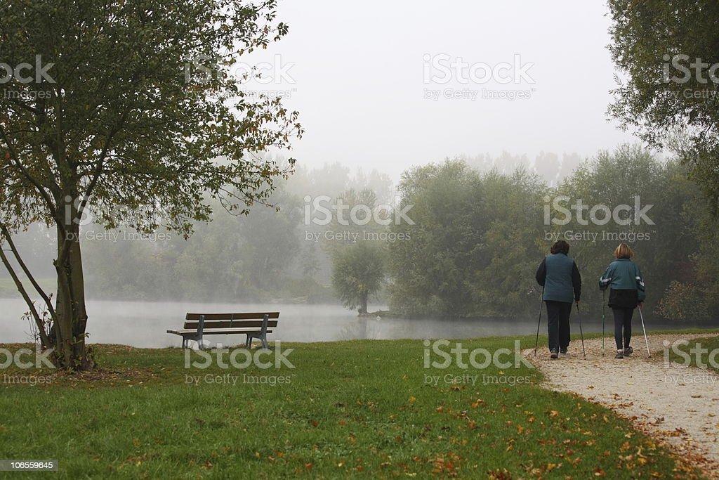 Nordic Walking at Foggy Fall royalty-free stock photo