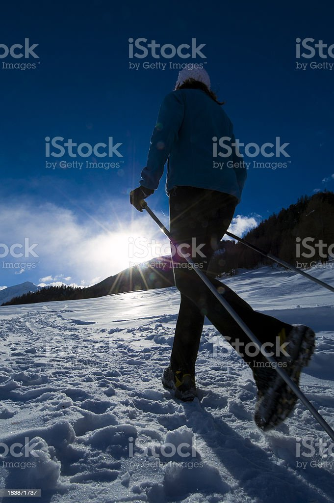 Nordic walking at winter time royalty-free stock photo
