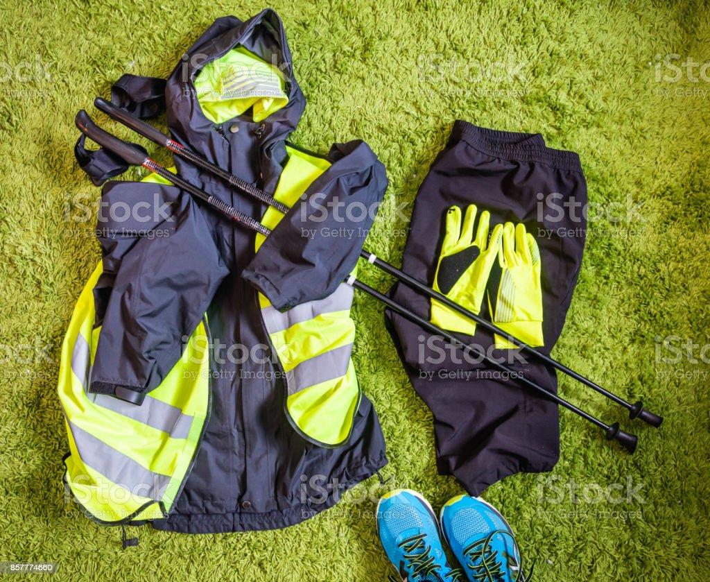 Nordic walking equipment stock photo