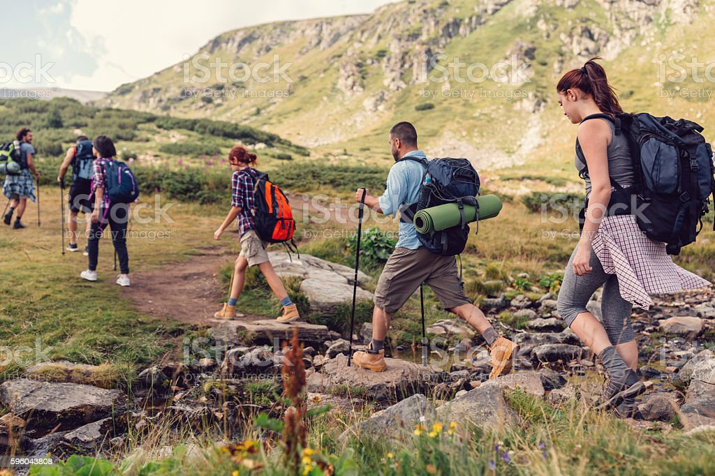 Nordic walking with friends stock photo