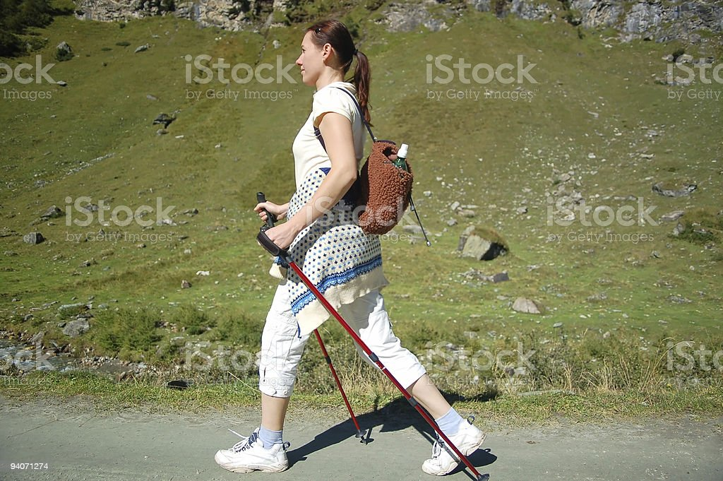 Nordic Walking Woman royalty-free stock photo