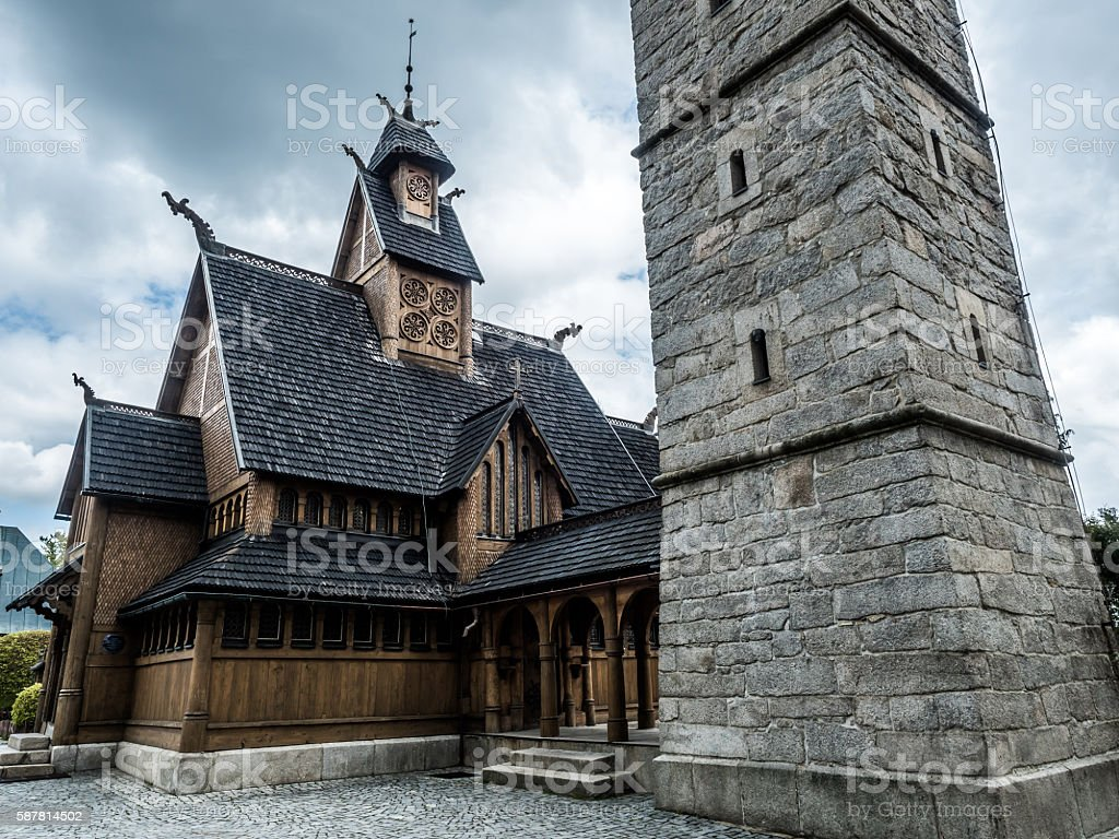 nordic Wang Temple in Beskid mountains in Poland stock photo
